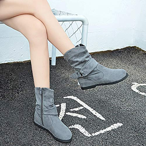 Soft Booties 5 Boots Cover Partywear 2 Shoes Ankle Gray Size Women Round Toe Slip On Flat Loafers Boots Vintage Shoes Women Style BaZhaHei 8 Heel Middle Boots ZwXCxYSqx