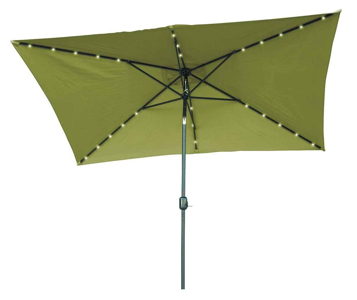 10' x 6.5' Light Green Rectangular Solar Powered LED Lighted Patio Umbrella with Gray Square Base - By Trademark Innovations by Trademark Innovations (Image #2)
