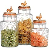 Country Kitchen Rooster Canisters Set of Three (3) Round Clear Glass Hermetic Sealed Airtight with Locking Clamps ~ Kitchen Jars Set with Embossed Rooster ~ Food Storage Containers (Copper)