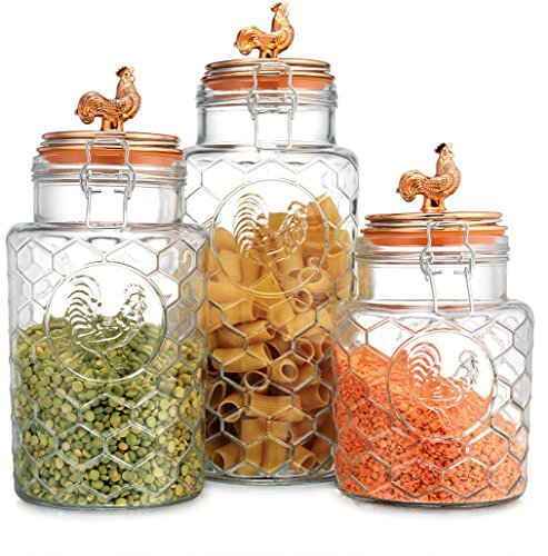 Home Essentials Glass Canisters with Bail & Trigger Copper Rooster Lids, Set/3