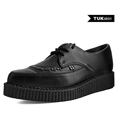 T.U.K. Shoes A9323 Unisex-Adult Creepers, Black TUKskin Lace Up Pointed Creeper