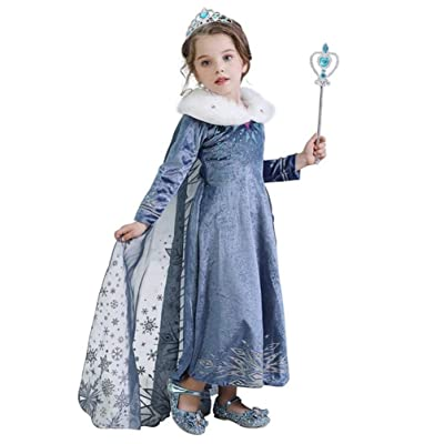 Evursua Princess Elsa Costume for Girls Winter Dress up Snow Queen Theme Party Dress,with Sparkle Crown Wand: Clothing