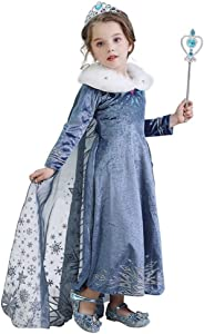 Evursua Princess Elsa Costume for Girls Winter Dress up Snow Queen Theme Party Dress,with Sparkle Crown Wand