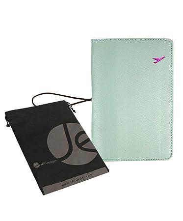 JAVOedge Blue Basic Passport Holder Case with Pockets for Boarding Passes Cards Bonus Storage Bag Documents