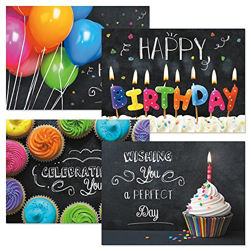 Bright on Black Birthday Greeting Cards - Set of 8 (4 designs) Large 5