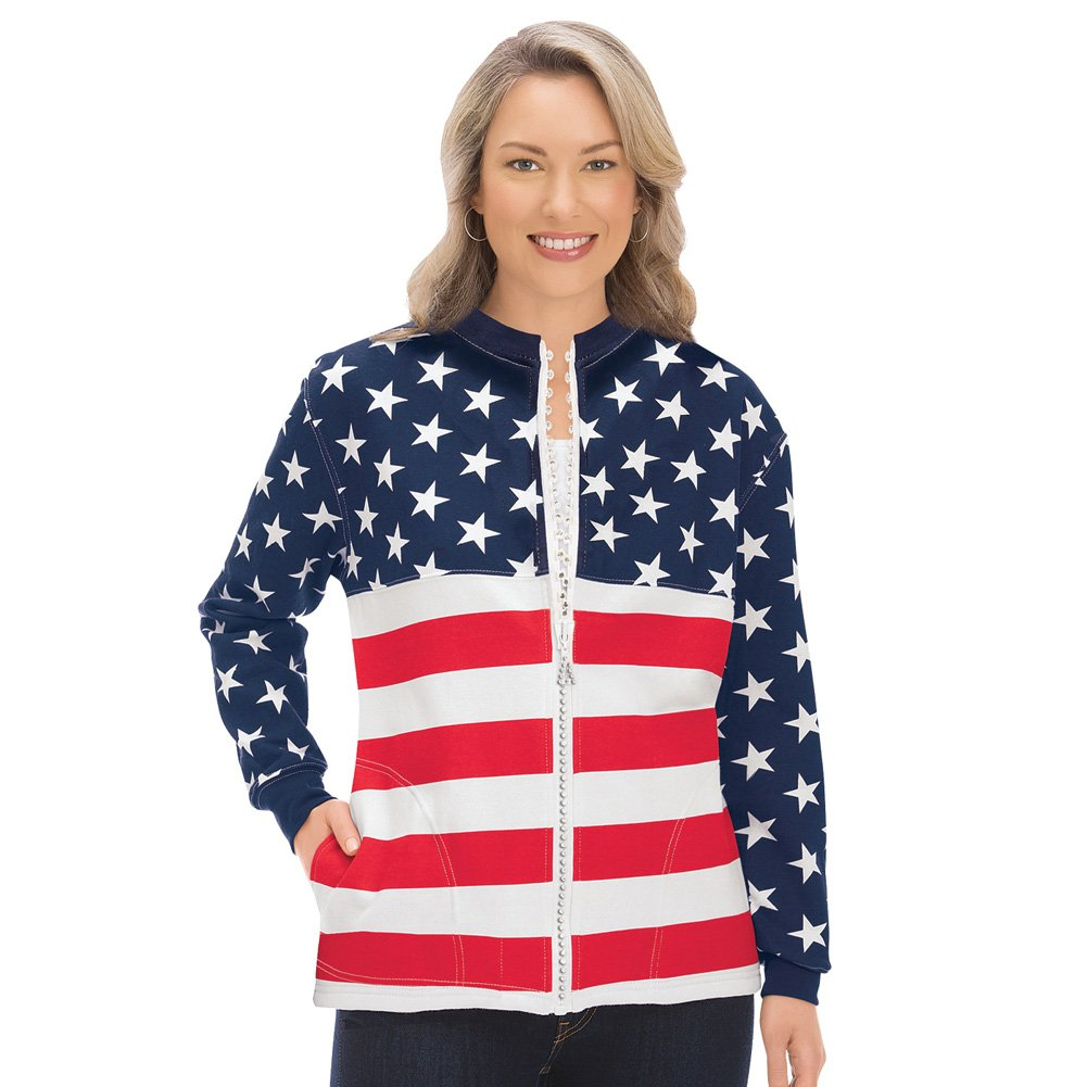 Mallory Lane Women's Ladies Patriotic USA Flag Zip Jacket with Crystal Accents & Front Pockets, X-Large by Mallory Lane