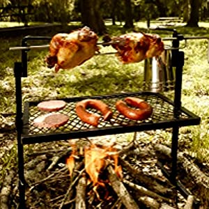 Camping Rotisserie Grill and Spit for Campfire, Barbeque Large Vertical Charbiol Kit for Spit Roast and Grill & E-Book
