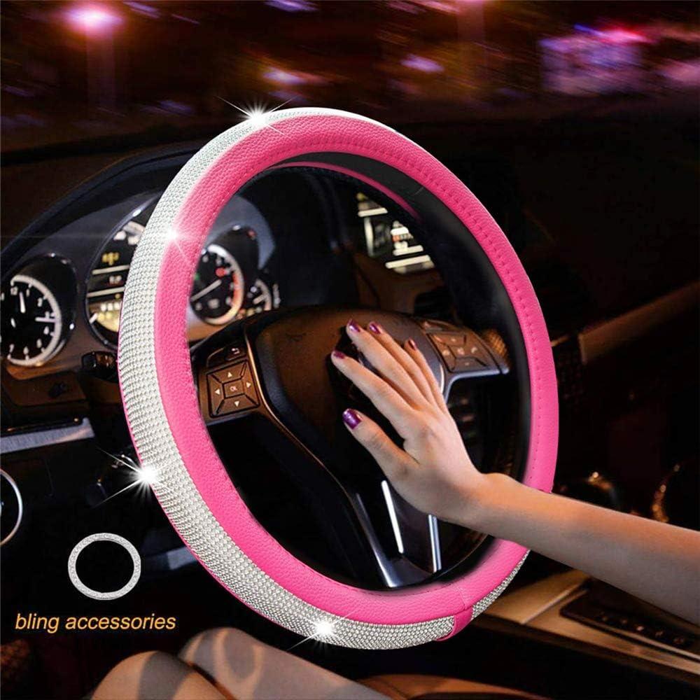 Auto Lenkradbezug Universal Leder Roulette Protector Atmungsaktive Anti-Rutsch-Auto Zubeh/ör Mit Kristall Strass Schwarz Rot Rose Rot red