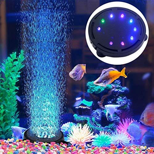 5 inch 12 LED Aquarium Bubble Light Air Stone, Fish Tank LED Air Bubbler Light Submersible Air Pump Bubble Stone Lamp…