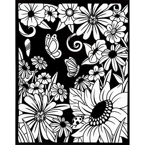 Darice Color-In Velvet Poster, 16-Inch by 20-Inch, Flower Garden -