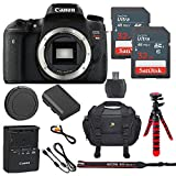 Canon EOS T6s 24.2MP Digital SLR Camera Body Only + 2 32GB Sandisk Ultra SD Cards + Deluxe Camera Bag + Spider Flexible Tripod + Memory Card Reader - International Model
