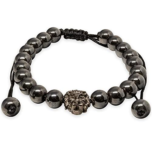 62a862e4a328 Mist Jewel Pulsera Cabeza Leon  Amuletos de Proteccion y Buena Suerte de  Cuentas Hombre hematita