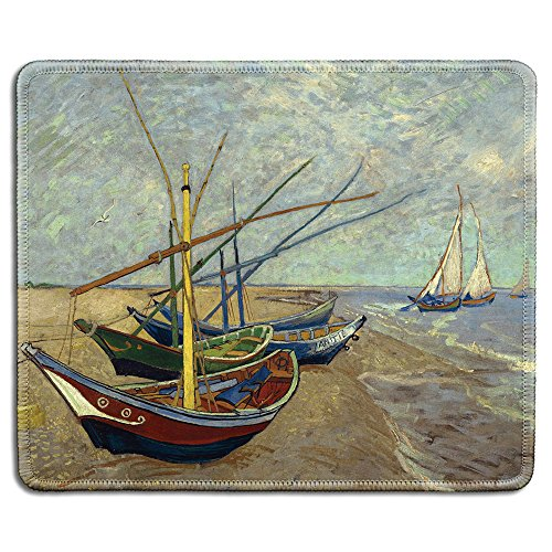 (dealzEpic - Art Mousepad - Natural Rubber Mouse Pad with Famous Fine Art Painting of Fishing Boats on the Beach at Les Saintes-Maries-de-la-Mer by Vincent Van Gogh - Stitched Edges - 9.5x7.9 inches)
