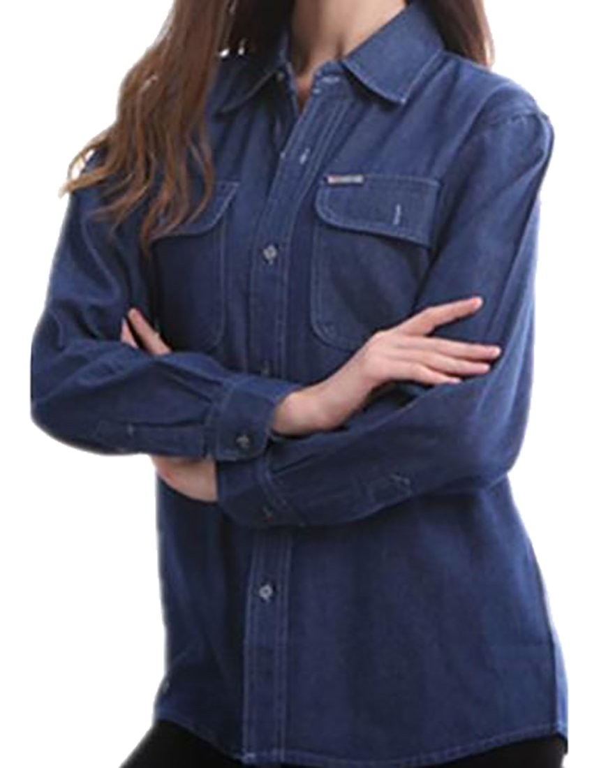 Papijam Women's Casual Boyfriend Washed Button Front Thin Denim Jacket Dark Blue Large