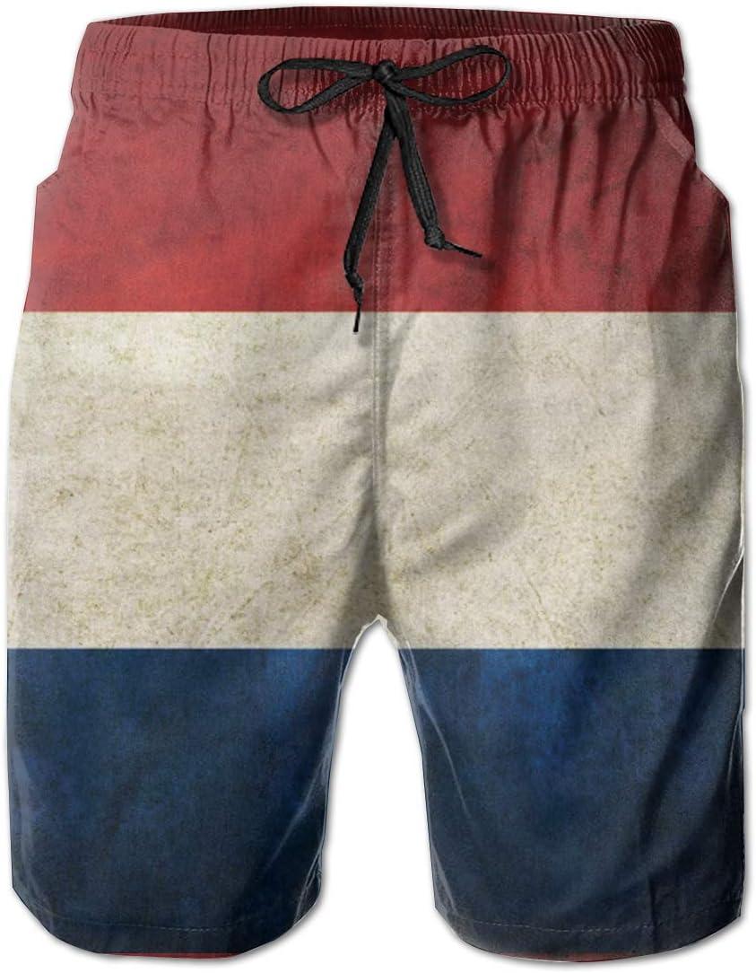 HZamora/_H Mens Netherland Flag Vintage Summer Breathable Quick-Drying Swim Trunks Beach Shorts Board Shorts