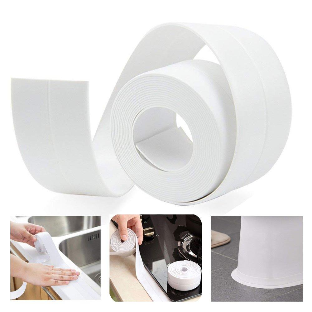 Tira de calavera para bañ era, cinta autoadhesiva de polietileno y sellado de pared, sellador de calavera, rollo impermeable, sellador de azulejos de ducha, 38 mm x 335 mm (blanco) Sunblue
