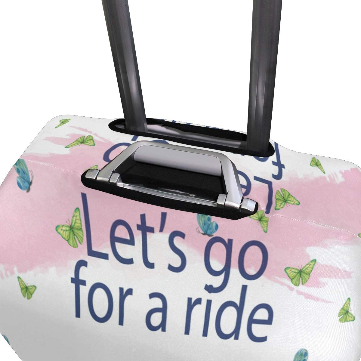 Travel Luggage Cover Lets Go For A Ride Bike Butterflies Suitcase Protector