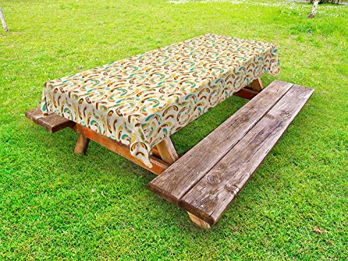 Ambesonne Abstract Outdoor Tablecloth, Different Shapes Ellipses Swirls and Curls Colorful Design Filigree Ornamental, Decorative Washable Picnic Table Cloth, 58