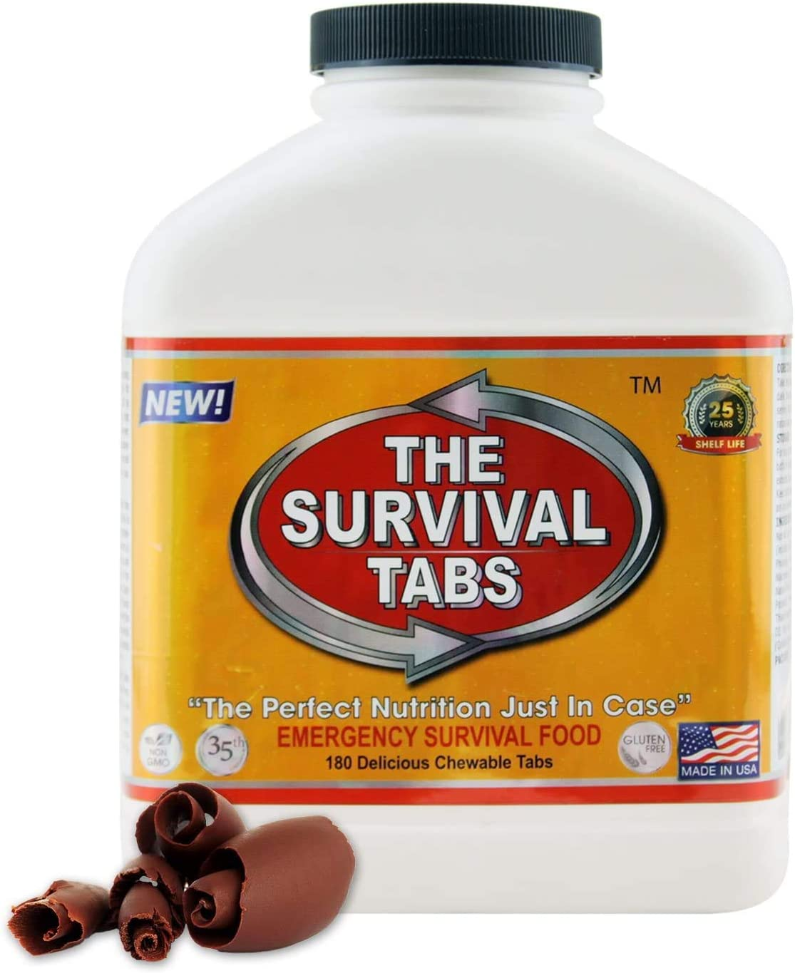 Survival Tabs 15 Day 180 Tabs Emergency Food Survival Food Meal Replacement MREs Gluten Free and Non-GMO 25 Years Shelf Life Long Term Food Storage - Chocolate Flavor