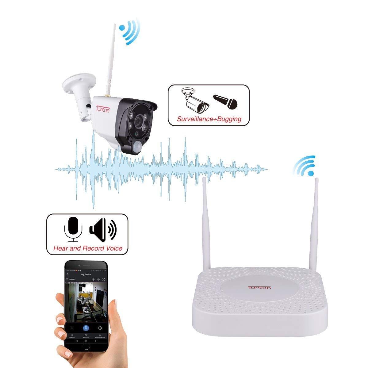 """8-Kanal 1080p NVR Set mit 4PCS 2.0MP IP Kameras Innen und Au/ßen Remote Audio/übertragung Seagate 1TB Festplatte All-in-1 WLAN /Überwachungskamera Set mit 15.6/"""" Zoll Monitor PIR W/ärmesensor und Audio"""