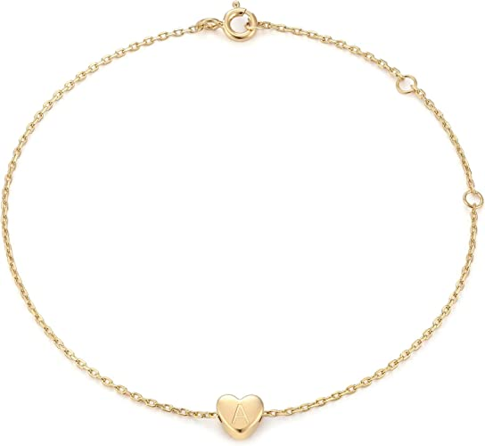 18K Gold Plated Stainless Steel Dainty Small Round Coin Disc Initial Bracelet Engraved Letters Personalized Name Bracelet for Girls MOMOL Initial Charm Bracelets