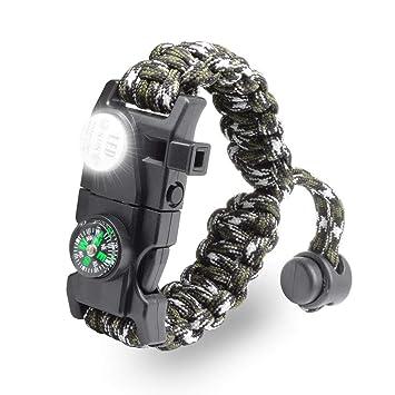 ce8d9c6672 LeMotech サバイバルブレスレット 20 in 1ツール 多機能ブレスレット 野外生存 火打ち石 コンパス SOS LED