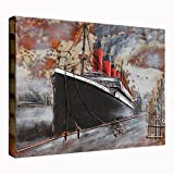 Asmork 3D Metal Art - 100% Handmade Metal Unique Wall Art - Stereograph Oil Painting - Home Decor - Ready to Hang Sculpture Artwork (Ship (30 x 20 inch))