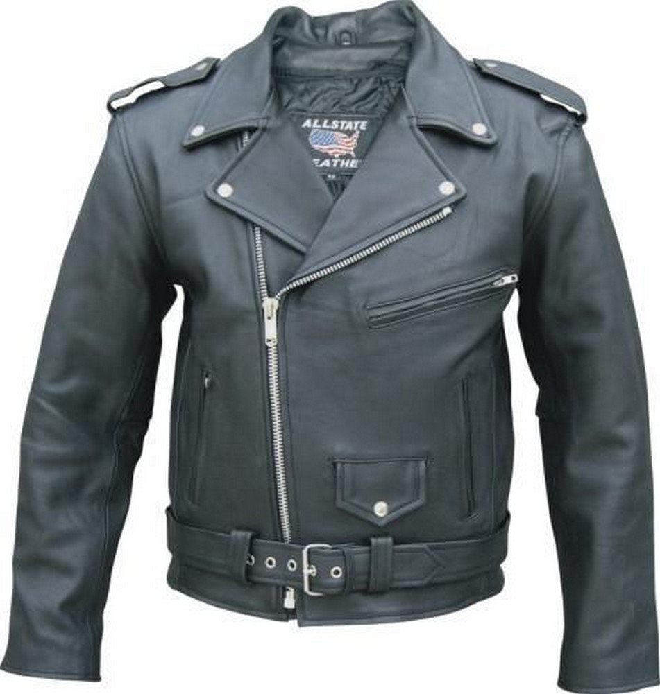 Mens Cowhide M.C. Jacket with Zipout Liner and Removable Belt - 48 - AL2040 by Allstate Leather