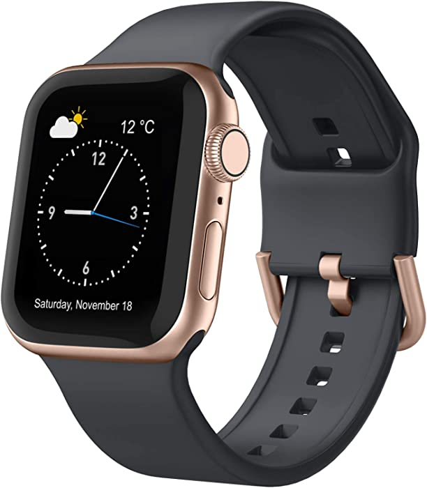 Adepoy Compatible with Apple Watch Bands 44mm 42mm 40mm 38mm, Soft Silicone Sport Wristbands Replacement Strap with Classic Clasp for iWatch Series SE 6 5 4 3 2 1 for Women Men, Deep Grey 38/40mm