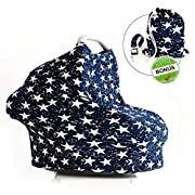 Multi-Purpose 5 in 1 Stretchy Nursing Cover by Mother Exclusive – Breastfeeding Shawl - Baby Car Seat Cover - FREE Baby Pacifier Clip Included (Dark Navy)