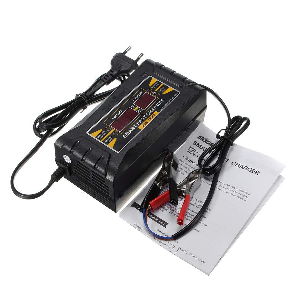 US Plug Black 12V 6A Automatic Car LCD Digital Display Smart PWM Battery Charging Charger