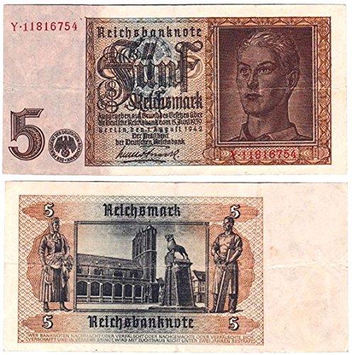 1936-1939 SILVER 5 MARK NAZI COINS W// SWASTIKA  5 REICHSMARKS CIRCULATED
