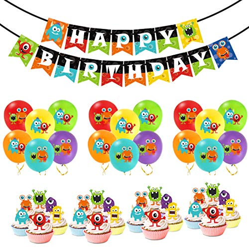 KREATWOW Monster Bash Party Decorations - Monster Birthday Balloons Happy Birthday Banner Cupcake Toppers for Boys Monster Party -