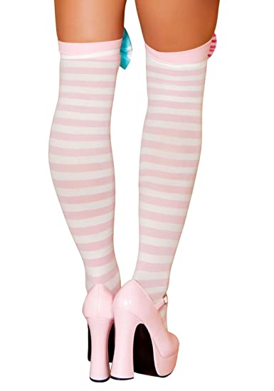 c2c88287b Amazon.com  Roma Costume Adult Pink and White Striped Thigh High Stockings   Clothing