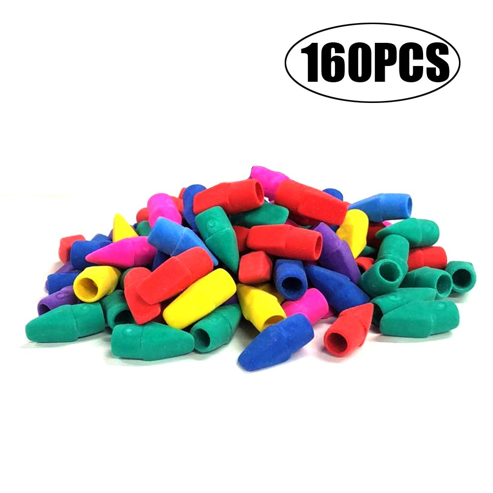 Eraser Caps,EVNEED 160 pcs Pencil Top Eraser Caps for Kids Fun Learning,Assorted Colors -Yellow,Green,Blue,Purple,Red,Orange