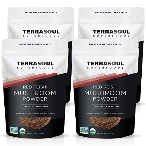 Terrasoul Superfoods Organic Reishi Mushroom Powder 4 1 Extract , 22 Oz 4 Pack – Immune Boosting Coffee Enhancer Deeper Sleep