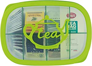 """Snips, Green Tea Bag Airtight Storage Box with Removable Dividers, 11.22"""" x 8.07"""" x 1.77"""""""