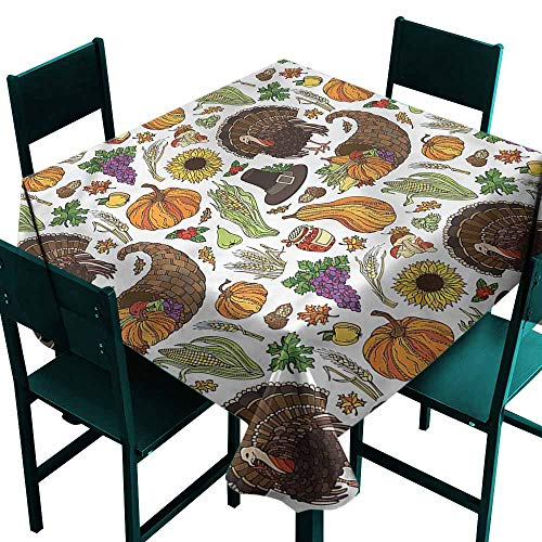 DONEECKL Washable Tablecloth Thanksgiving Pilgrims Hat Turkey and Durable W63 xL63
