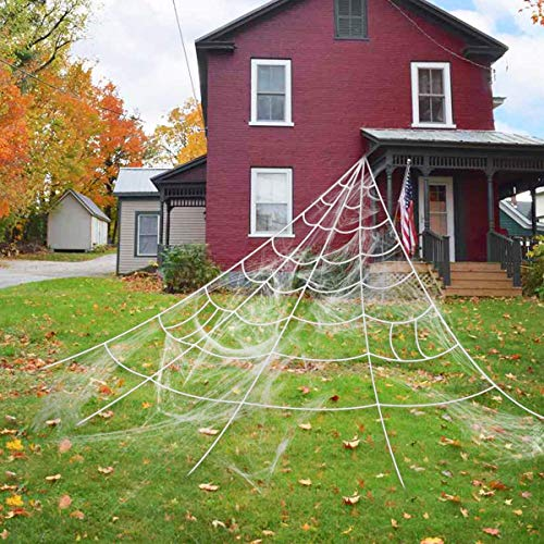Halloween Giant Spider Web, 23 X 18ft Triangular Mega Spider Web for Outdoor Halloween Decor Decoration Outdoor Yard, White ()