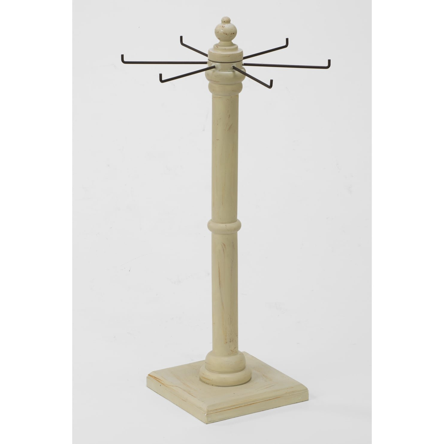 TRIPAR 17853 22.75 Inch Wooden Single Tier Stand with Hooks