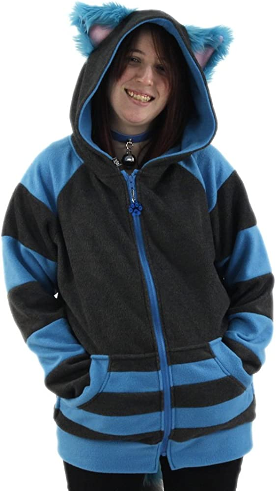 Pawstar Cheshire Cat Mew Kitty Eared Hoodie Jacket Adult Unisex