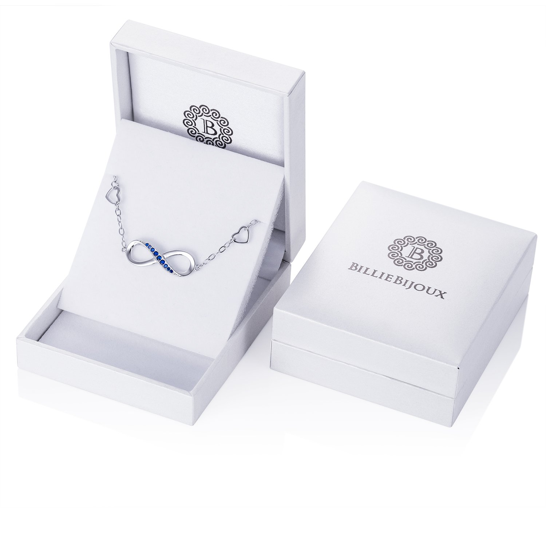 Billie Bijoux Womens 925 Sterling Silver Infinity Endless Love Symbol Charm Adjustable Bracelet Gift for Mother's Day (Blue) by Billie Bijoux (Image #7)