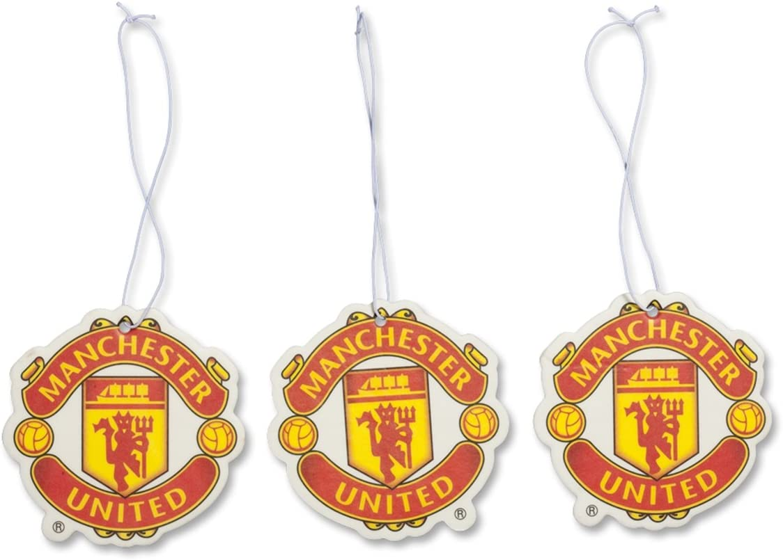 Manchester United FC Set of 3 Air Fresheners - Official Manchester United Product - Great For All MUFC Soccer Fans - Use in Your Car, Boat or Locker - Features Team Colors and Crest - Man Utd Soccer