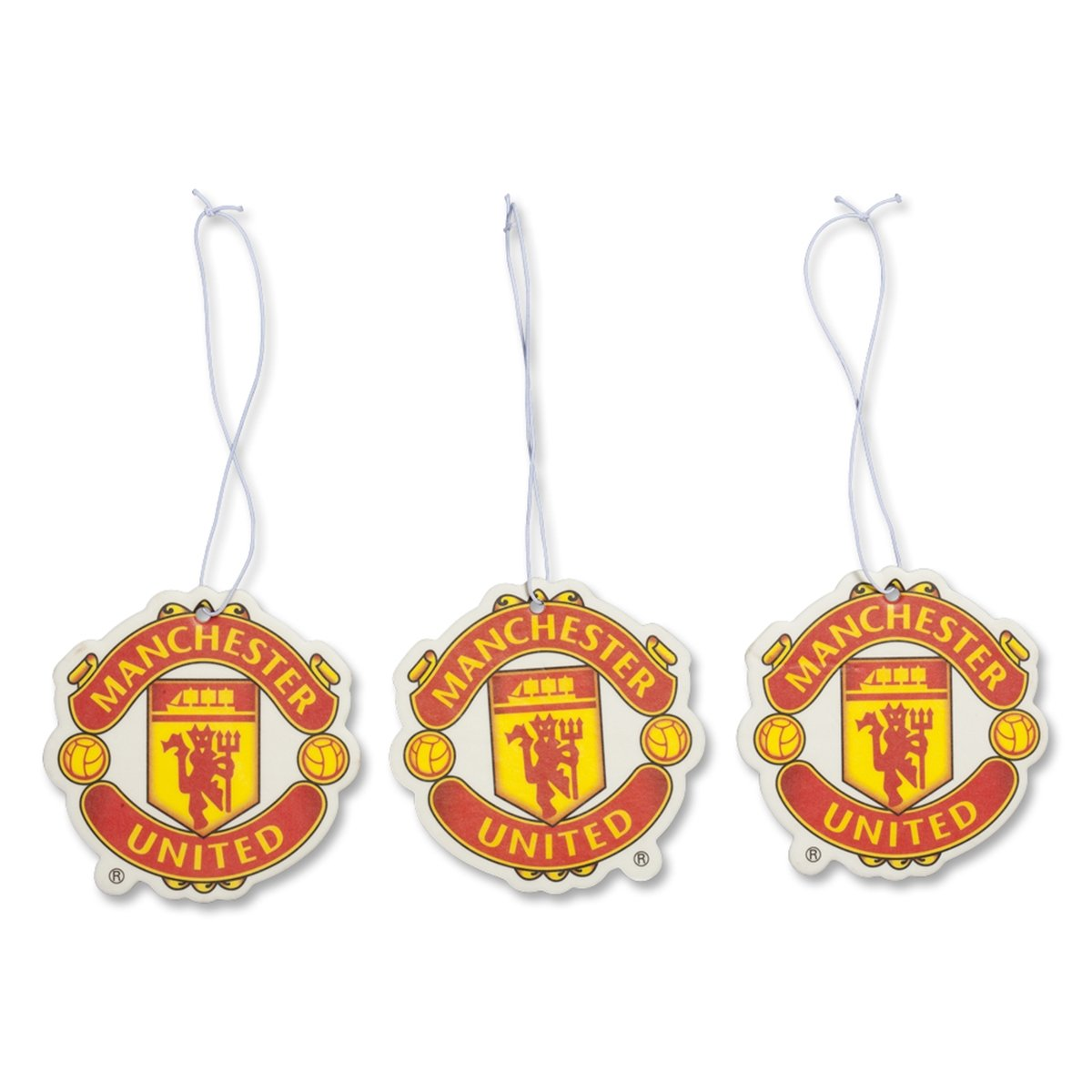 Manchester United FC Set of 3 Air Fresheners - Official Manchester United Product - Great For All MUFC Soccer Fans - Use in Your Car, Boat or Locker - Features Team Colors and Crest - Man Utd Soccer Football Source Inc.