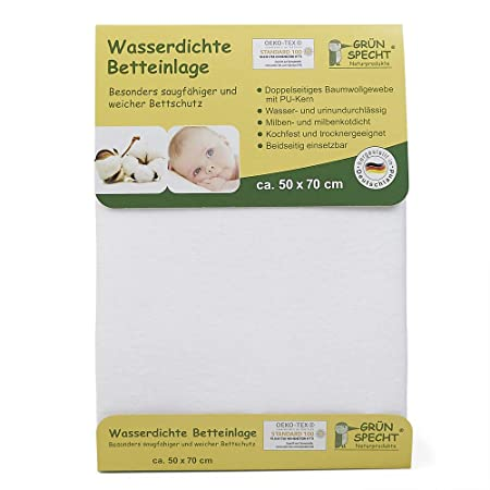 5c53791639 Grünspecht 163-00 Wasserdichte Betteinlage, 50 x 70 cm, weiß: Amazon.de:  Baby