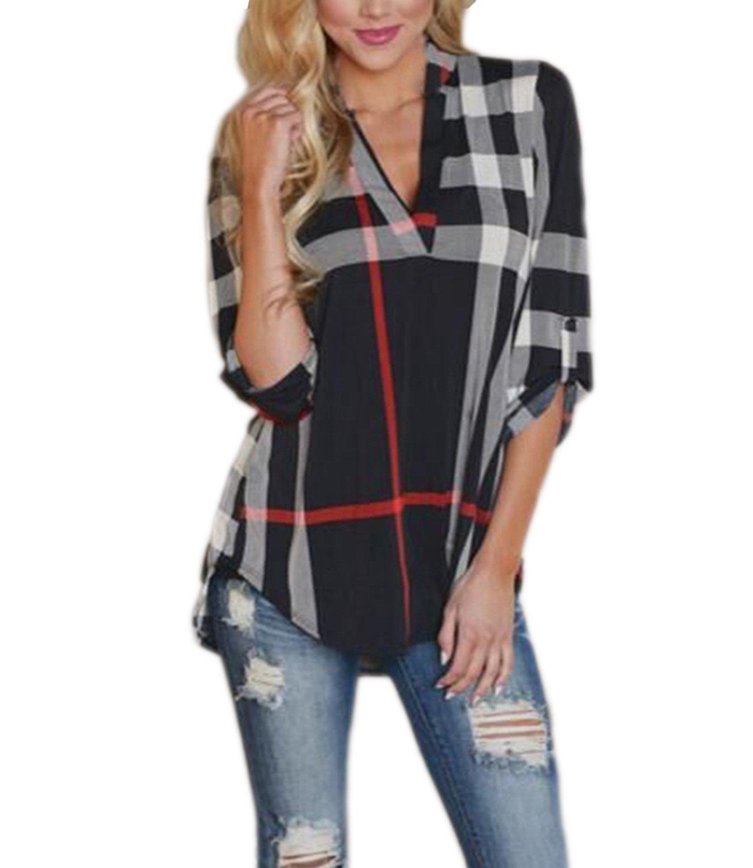 Mansy Women's Casual 2/3 Sleeve V-Neck Plaid shirts Pullover Top Black Medium
