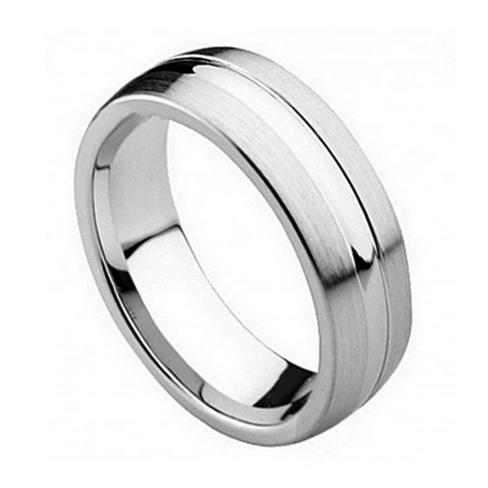 FREE ENGRAVING -8MM Cobalt Chrome Wedding Band Ring Polish Domed Center with Flat Brushed Sides (8.5)