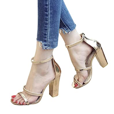 65503486cd5 VPASS 1 Pair Princess Style Ladies and Girls Super High Square Heel Sandals  Summer Zip Ladies Ankle Fashion Casual Open Toe Party Singel Shoes Shoes  Size ...