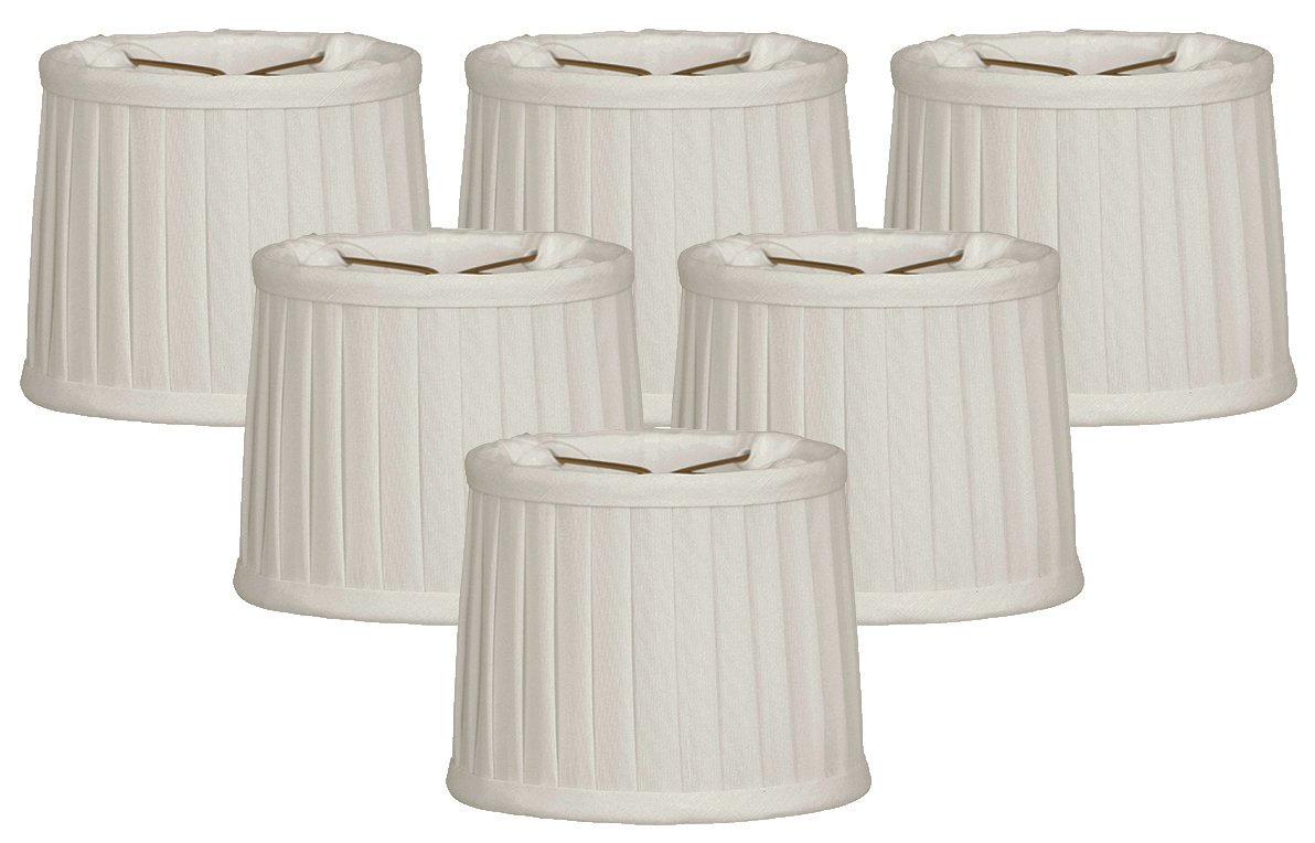 Royal Designs Side Pleat Chandelier Shade, Size 5, White, Set of 6, (CS-211WH-6)
