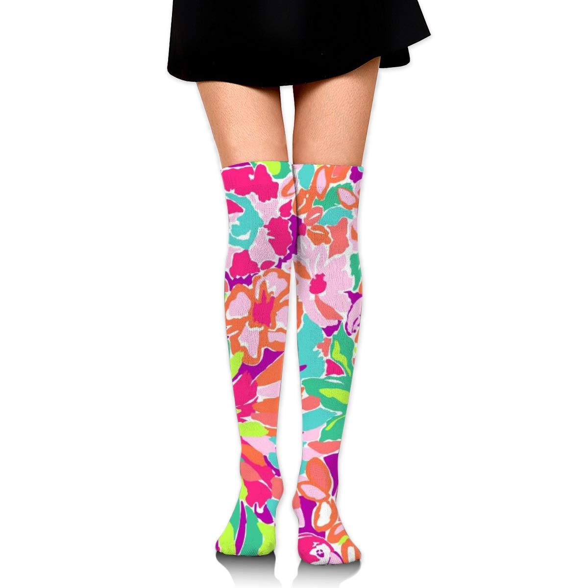 Women Crew Socks Thigh High Knee Flamingo Tropical Florals Long Tube Dress Legging Sport Compression Stocking